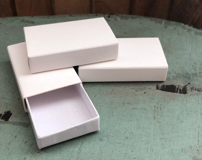 White Slide Boxes, Set of 3, Tiny Storage Gift Boxes