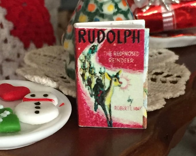 "Miniature Book, ""Rudolph"", Printed Inside Pages, Text Throughout, Dollhouse Miniature, 1:12 Scale, Mini Book, Readable Book"