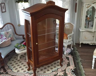 Miniature Walnut Display Cabinet, Curio Cabinet, Clear Front, Three Shelves, Dollhouse Miniature Furniture, Mini Dollhouse Cabinet