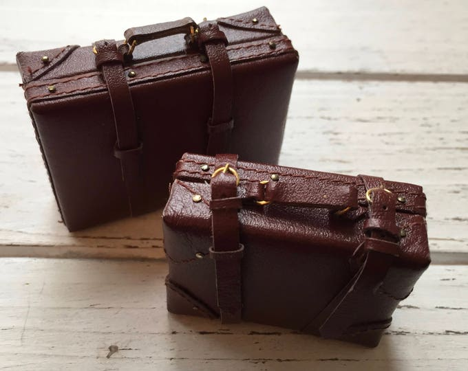 Miniature Suitcase, Medium Faux Leather Suitcase, Mini Luggage, Style 1491, Dollhouse Miniature, 1:12 Scale, Mini Brown Suitcase