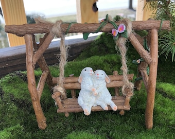 Mini Swing, Wood Look Swing With Bunny Rabbits and Flowers, Fairy Garden Accessory, Mini Garden, Home & Garden Decor, Topper, Gift