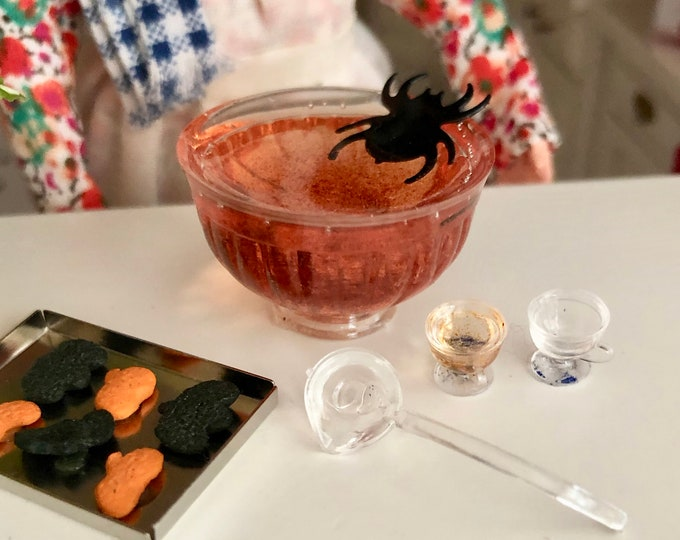 Miniature Halloween Punch Bowl Set, Includes 8 Cups, Hooks and Ladle, Dollhouse Miniature, 1:12 Scale, Clearance Priced