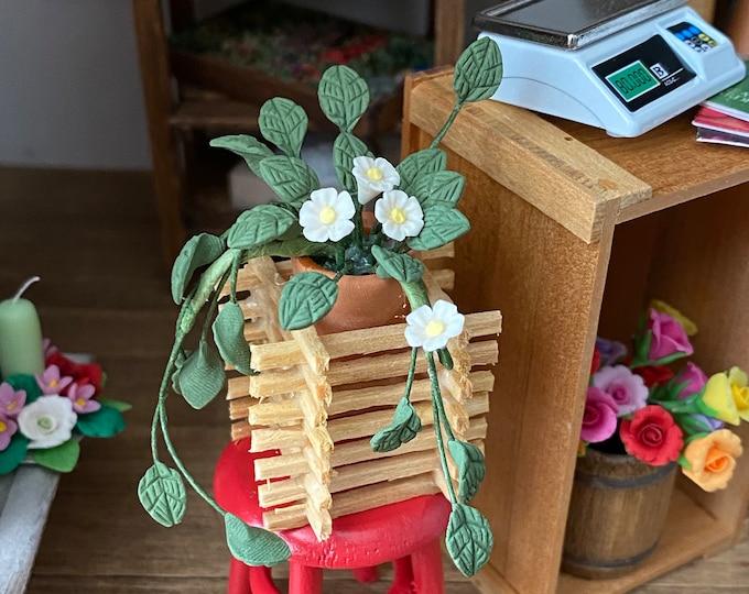Miniature Flower Arrangement, Mini Flowers in Wood Planter Box, Dollhouse Miniature, 1:12 Scale, Dollhouse Decor Accessory, Mini Plant