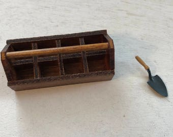 Miniature Wood Garden Tool Carrier and Garden Trowel, Dollhouse Miniatures, 1:12 Scale, Garden Decor, Accessory, Crafts