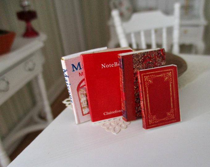 Miniature Books, Set of 4, Blank Pages, Assorted Covers, Style #37, Dollhouse Miniatures, 1:12 Scale, Dollhouse Accessories