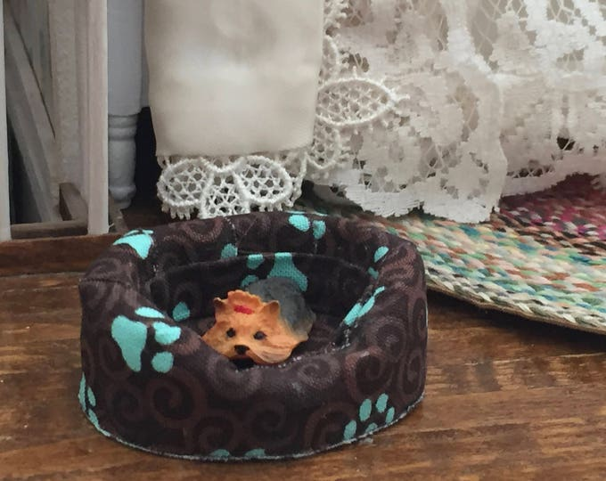 Miniature Dog Bed, Fabric Dog Bed, Brown and Aqua, Dollhouse Miniature, 1:12 Scale, Mini Bed, Paw Print Fabric Pattern
