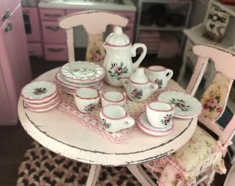 Miniature Pink Rose China Tea Set, 17 Pieces, Dollhouse Miniatures, 1:12 Scale, Dollhouse Accessory, Decor, Dishes, Cream, Sugar