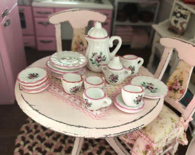 Miniature Pink Rose China Tea Set, 17 Pieces, Dollhouse Miniatures, 1:12 Scale, Dollhouse Accessory, Decor, Dishes, Cream, Sugar