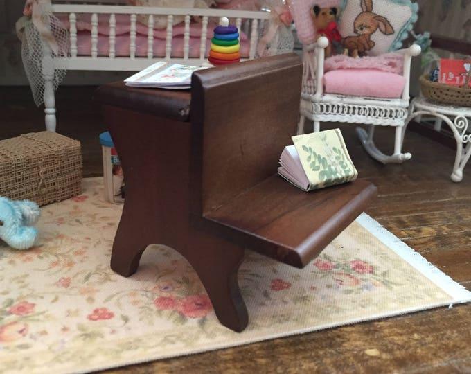 Miniature School Desk, Vintage Style Wood School Desk, Dollhouse Miniature, 1:12 Scale, MIni Walnut Desk, Dollhouse Furniture