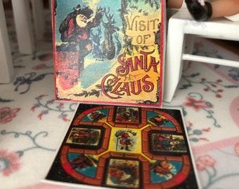 Miniature Santa Game Board and Box Set, Mini Repro Game, Dollhouse Miniature, 1:12 Scale, Visit from Santa Game Board & Box, Holiday Decor