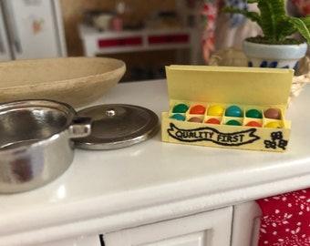 Miniature Colored Eggs in Yellow Carton, Dollhouse Miniature, 1:12 Scale, Dollhouse Food, Mini Food, Dollhouse Accessory, Decor, Crafts