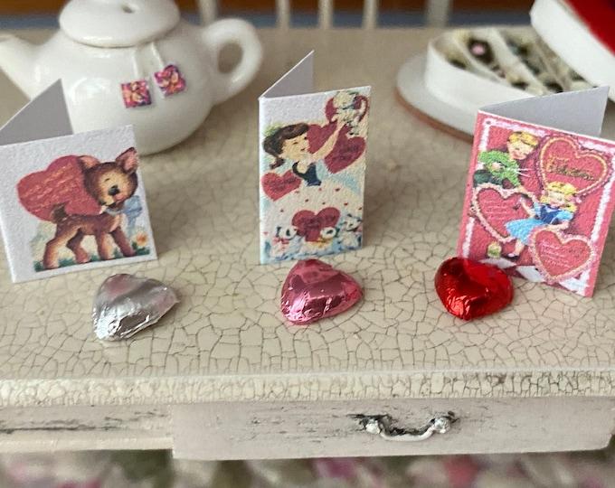 Miniature Valentine Card and Foil Wrapped Heart, Choose Color/Style, 2 Piece Set, Dollhouse Miniature, 1:12 Scale, Holiday Decor, Mini Heart