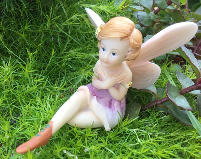 Fairy Figurine, Flower Fairy #4489, Sitting Fairy, Crossed Arms, Fairy and Miniature Garden Decor, Shelf Sitter, Topper