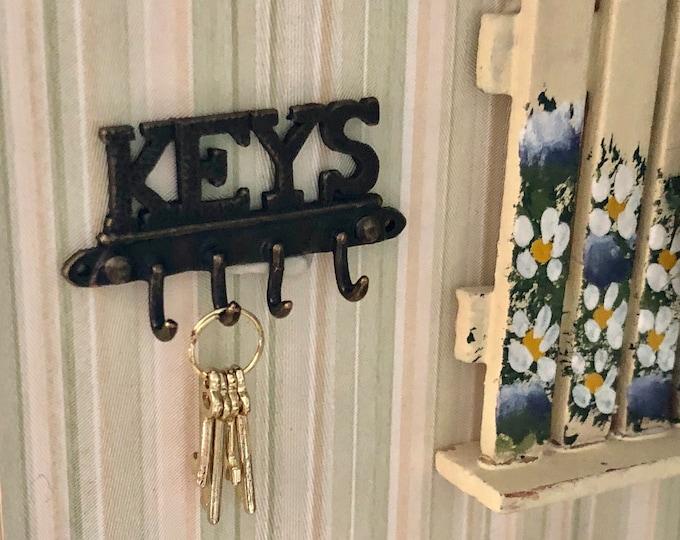 Miniature Key Wall Hooks, Mini Key Holder, Antique Brass Look Hooks, Dollhouse Miniature, Dollhouse Accessory, Wall Decor