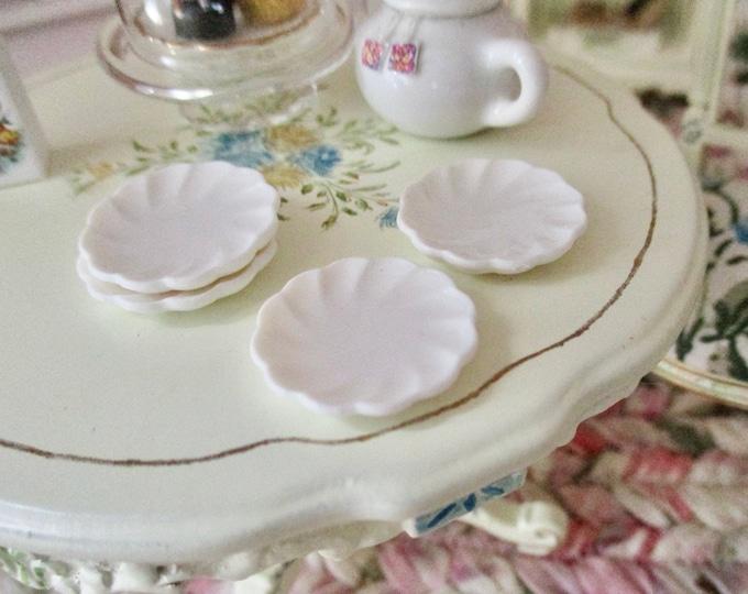 Miniature Plates, Mini Small Victorian Style Plates, Style #33, 4 Piece Set, Dollhouse Miniatures, 1:12 Scale, Dollhouse Decor, Accessories
