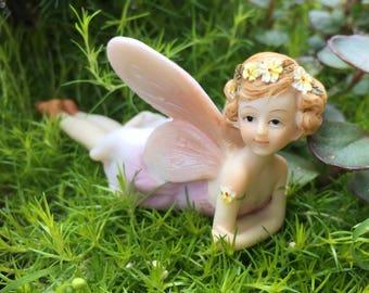Fairy Figurine, Flower Fairy #4490, Laying Down Fairy, Fairy and Miniature Garden Decor, Shelf Sitter, Topper