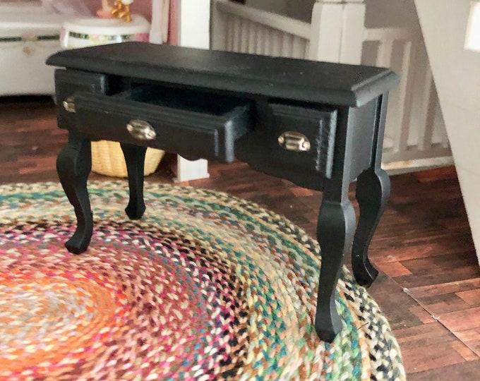 Miniature Desk, Mini Black Wood Desk With Pewter Hardware, Dollhouse Miniature, 1:12 Scale, Dollhouse Furniture