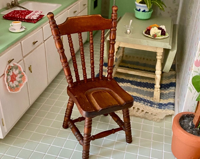 Miniature Chair, Mini Wood Chair, Side Kitchen Chair, Walnut Finish, Style #38, Dollhouse Miniature Furniture, 1:12 Scale, Dollhouse Chair
