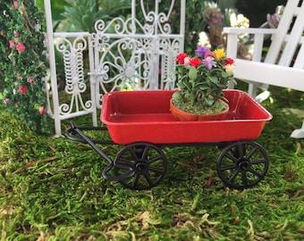 Miniature Red Wagon, Metal Wagon, Style 4196, Dollhouse Miniature, 1:12 Scale, Fairy Garden Accessory, Miniature Garden Decor