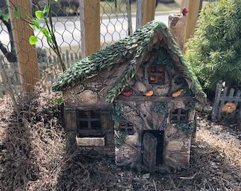 "Fairy Garden House, ""Woodsy Way"" Cottage, Resin With Window Boxes and Working Door, Fairy Garden, Miniature Home & Garden Decor"