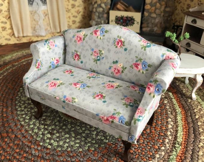 Miniature  Sofa, Gray Floral Fabric Sofa With Walnut Legs, Dollhouse Miniature Furniture, 1:12 Scale, Mini Sofa, Dollhouse Decor