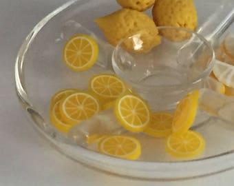 Miniature Lemon Slices, 12 Pieces, Dollhouse Miniature Food, 1:12 Scale, Dollhouse Accessories, Decor, Mini Fruit, Pretend Food