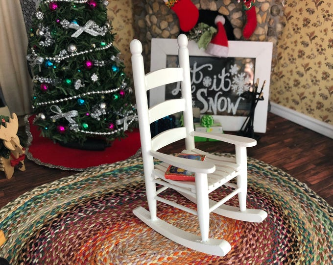 Miniature Rocking Chair, White Wood Rocker, Cabin Style Rocking Chair, Dollhouse Miniature Furniture, 1:12 Scale, Dollhouse Rocker