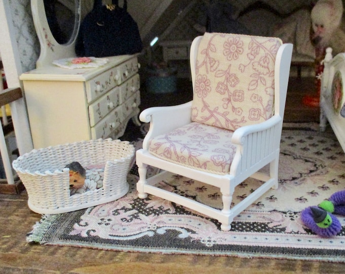 Miniature JBM Armchair, White Wood Fabric Covered Arm Chair, Dollhouse Miniature Furniture, 1:12 Scale, Dollhouse Decor, Floral Fabric Chair