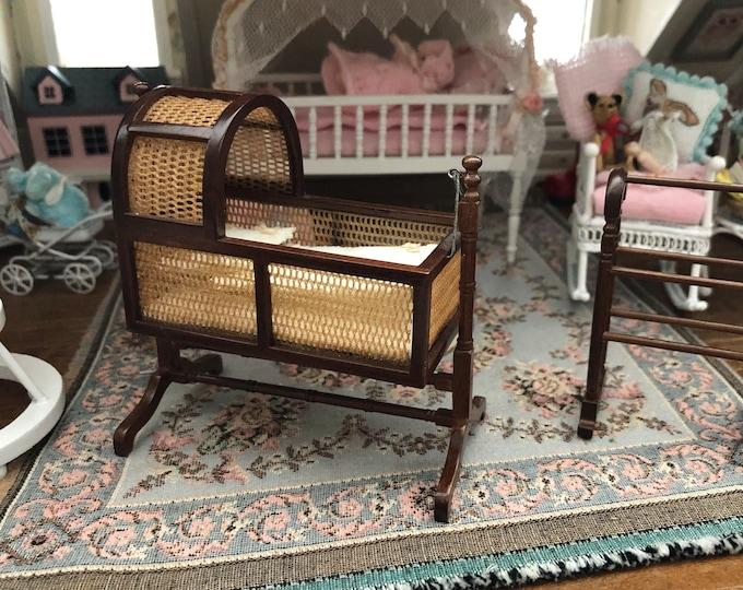 Miniature Cradle and Quilt Stand, Vintage Wood Cradle and Heidi Ott Quilt Stand, Dollhouse Miniature Furniture, Swinging Mini Cradle