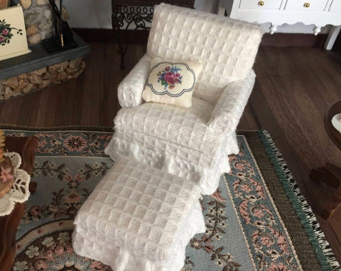 Miniature White Chair and Ottoman, 2 Piece Set, Style 65, Dollhouse Miniature Furniture, 1:12 Scale, Fabric Covered Chair with Stool