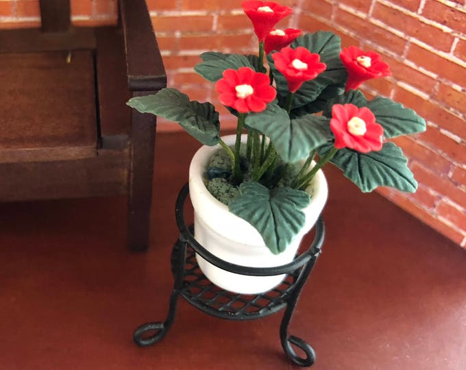 Miniature Flowers in Ceramic Flower Pot and Metal Plant Stand, Dollhouse Miniature, 1:12 Scale, Dollhouse Flowers, Accessory, Decor, Topper