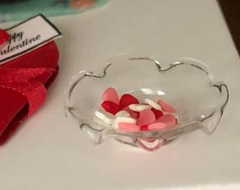 Miniature Fluted Glass Bowl With Hearts, Mini Valentine Hearts, Dollhouse Miniature, 1:12 Scale, Dollhouse Accessory, Holiday Decor