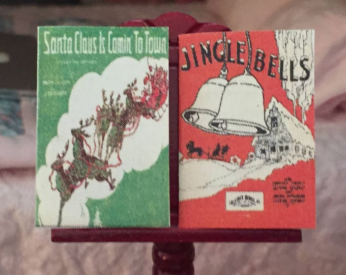 Miniature Sheet Music, Jingle Bells, Santa Claus is Coming to Town, Vintage Style Christmas Sheet Music, Dollhouse Miniature, 1:12 Scale