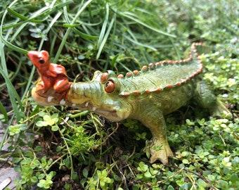 """Little Gator Figurine with Frog Friend, """"Chompie the Gator"""" #4734, Alligator Figurine, Fairy Garden, Miniature Garden Decor, Gift, Topper"""