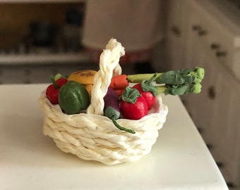 Miniature Vegetables, Assorted Vegetables in White Basket, Dollhouse Miniature, 1:12 Scale, Dollhouse Accessory, Decor, Mini Food