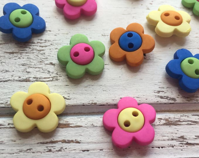 """Flower Buttons, Packaged Novelty Buttons """"Hot Flowers"""" #2102 by Buttons Galore, Assorted Colors, Sew Through, 2 Hole Buttons"""