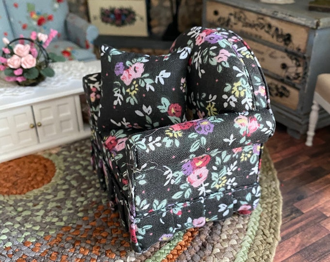 Miniature Chair, Black Floral Chair with Pillow, Style #57, Dollhouse Furniture, 1:12 Scale, Dollhouse Miniature, Mini Chair With Pillow