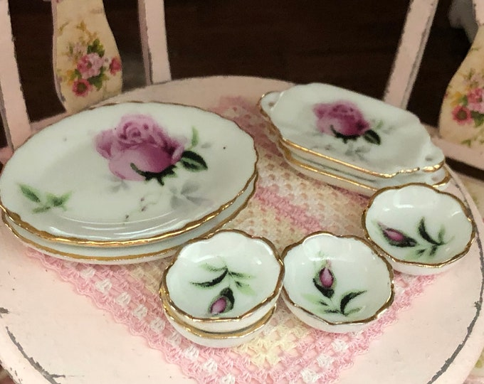 Miniature Pink Rose Plate/Tray and Bowl Set, Gold Trimmed, 8 Piece Set, Style #32, Dollhouse Miniature, 1:12 Scale, Dollhouse Decor