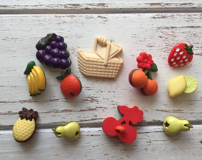 """Fruit Buttons Packaged Novelty Buttons, Packaged Assortment by Buttons Galore """"Fruit Basket"""" Style 4095, Shank Back Buttons, Embellishments"""