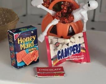Miniature Smores Set,  Marshmallow Bag, Chocolate Bar, Graham Cracker Box, Dollhouse Miniatures, 1:12 Scale, Dollhouse Food, Mini Food