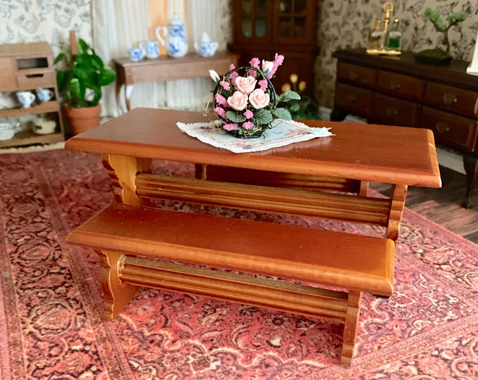 Miniature Table with 2 Benches, Clearance Priced, Mini Wood Table Set, 3 Pieces, Dollhouse Miniature, 1:12 Scale, Dollhouse Furniture