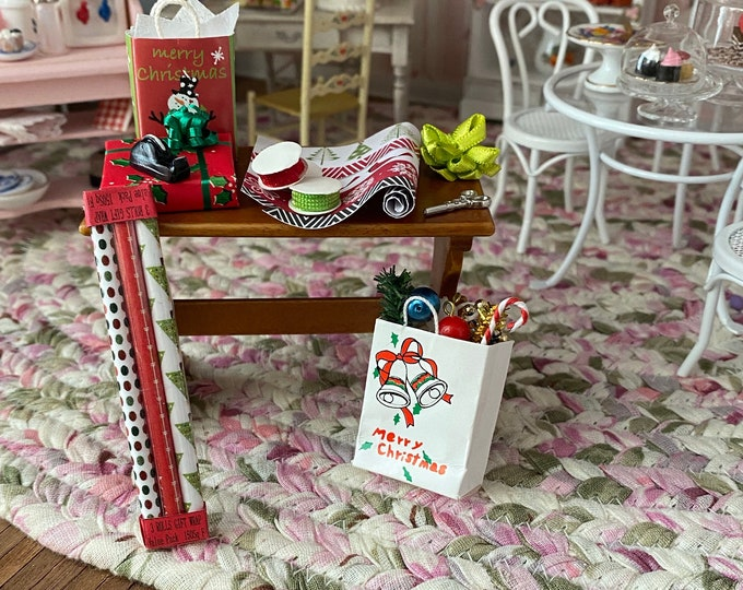 Miniature Christmas Wrapping Table Set, 12 Pieces, Paper, Scissors, Tape, Filled Bag, Dollhouse Miniatures 1:12 Scale, Holiday Decorq
