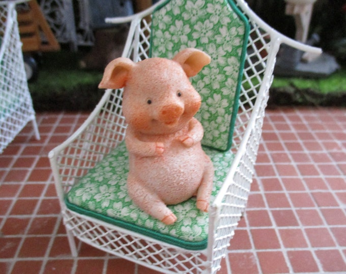 Cute Piggy Figurine, Little Pig Figurine, Shelf Sitter, Fairy Garden Miniature Garden Decor, Gift, Topper, Shelf Sitter