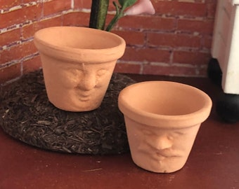 Miniature Flower Pots, Clay Face Flower Pots, Set of 2, Dollhouse Miniature, 1:12 Scale, Miniature Garden Decor, Dollhouse Accessory