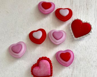 """Heart Buttons, Valentine Buttons, Packaged Novelty Buttons, """"Heart to Heart"""" 4322 by Buttons Galore, Sewing, Crafting, Shank Back Buttons"""