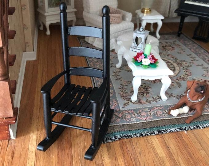 Miniature Rocking Chair, Black Wood Rocker, Cabin Style Rocking Chair, Dollhouse Miniature Furniture, 1:12 Scale, Dollhouse Rocker