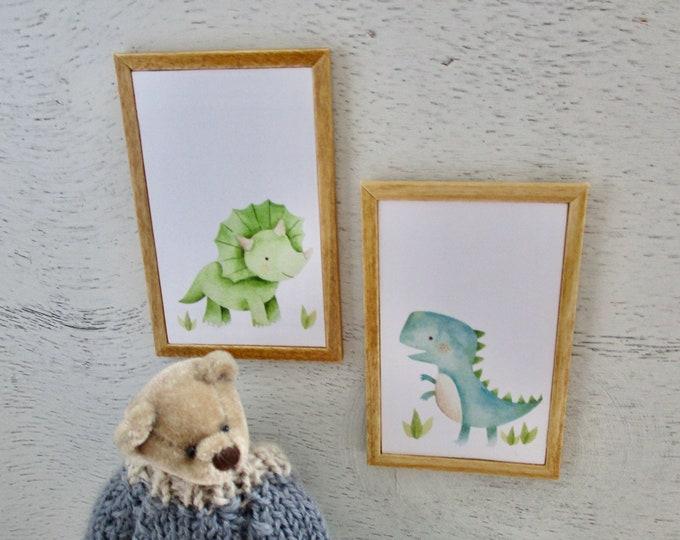 Miniature Framed Pictures, Dinosaur Picture Set, Wood Frames, 2 Piece Set, Dollhouse Miniatures, 1:12 Scale