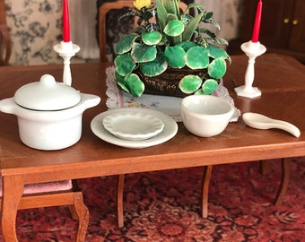 Miniature Table Set, White Ceramic, 6 Piece Set, Covered Dish, Plates, Bowl and Spoon Rest, Dollhouse Miniatures, 1:12 Scale, Mini Dishes