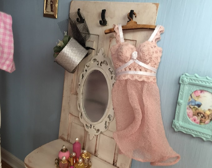 Miniature Nightgown, Short Pink Night Gown, Style 87, Dollhouse Miniature, 1:12 Scale, Dollhouse Accessory, Decor, Mini Clothes, Pink Gown