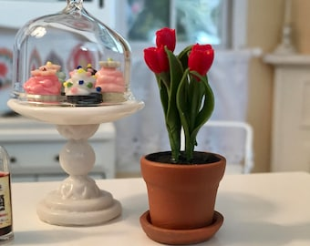 Miniature Red Tulips Aged Look Clay Pot With Removable Saucer, #07, Dollhouse Miniature, 1:12 Scale, Dollhouse Flowers, Mini Flower Pot